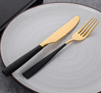 Party Supplies Black&Gold Cutlery Set Stainless Steel Tableware