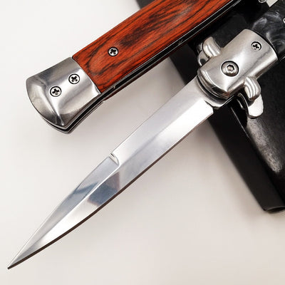 Italian Godfather Folding knife Pocket 440C Blade Acrylic Wood Handle