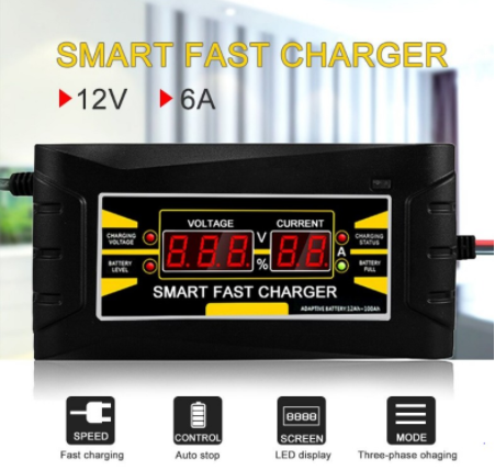 SMART FAST BATTERY CHARGER 12V 6A (SUITABLE FOR ALL TYPES OF CARS OR MOTORCYCLES)