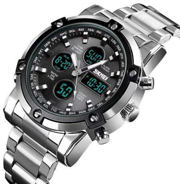 DUAL DISPLAY WRISTWATCH (STAINLESS STEEL)