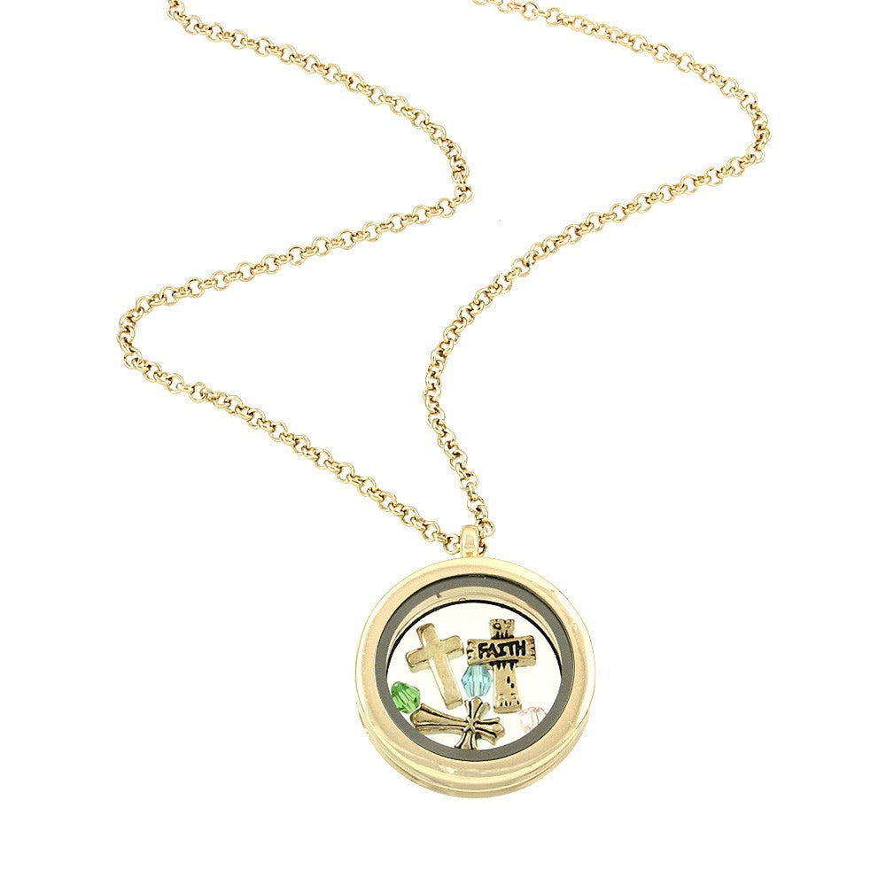 Gold Tone Faith Cross Round Floating Charms Locket Necklace
