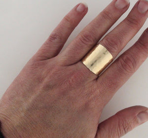 14K Gold Wide Band Cigar Ring Hammered Champagne Collection