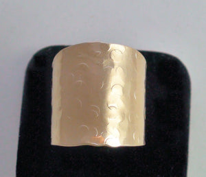 Cuff Ring Cigar Band Hammered Champagne Bubbles Artisan Tube Ring