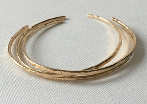 Handmade 14k Gold Filled Skinny cuff Bracelet Set - Gold Skinny Cuff- Cuff Bracelet Set- minimalist Bangles, Champagne Collection