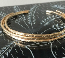 Load image into Gallery viewer, Handmade 14k Gold Filled Skinny cuff Bracelet Set - Gold Skinny Cuff- Cuff Bracelet Set- minimalist Bangles, Champagne Collection
