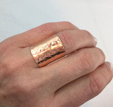 Load image into Gallery viewer, Wide Band Cigar Ring Hammered Copper Ring Champagne Collection
