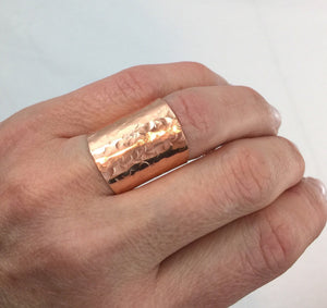 Wide Band Cigar Ring Hammered Copper Ring Champagne Collection