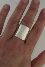 Load image into Gallery viewer, Wide Cigar Band Ring Hammered Champagne Bubbles Sterling Silver Cuff Ring