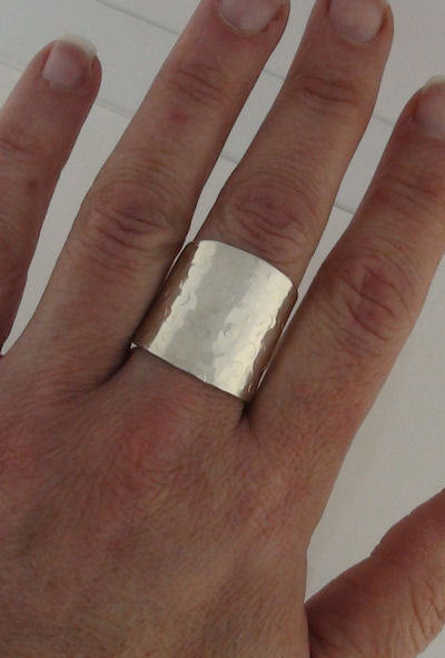 Wide Cigar Band Ring Hammered Champagne Bubbles Sterling Silver Cuff Ring