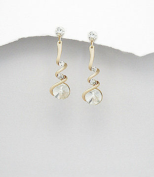 Crystal Glass round Gold Tone Spiral Dangle Drop Earrings