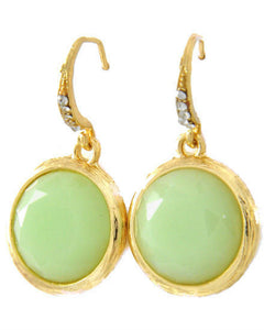 Gold Tone Faceted Mint Green Acrylic Rhinestone Round Dangle Earrings