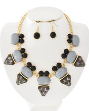 Load image into Gallery viewer, Gold Tone Black & Gray Acrylic Necklace & Earring Set.