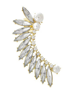 Faux Pearl Clear Acrylic Fan Ear Cuff Earring