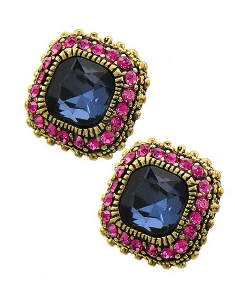 Montana Blue Glass Pink Rhinestone Fashion Square Stud Earrings