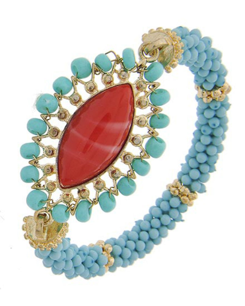 Turquoise Seed Bead Red Acrylic Jewel Fashion Stretch Bracelet