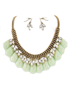 Mint and Clear Acrylic Statement Necklace Set Wedding Jewelry