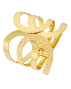 Hinged Cuff Bangle Bracelet Gold Tone Metal Fold Over