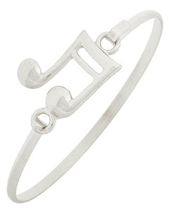Musical Note Bangle Bracelet Silver Tone