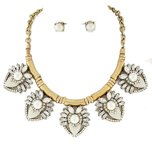 Ivory Clear Acrylic Faux Pearl Fashion Statement Necklace Earring Set
