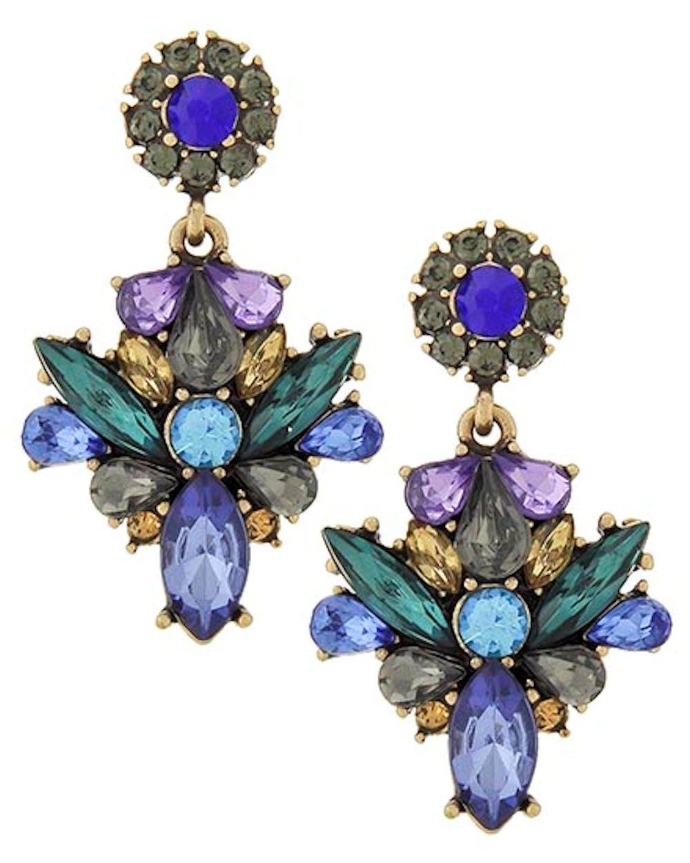 Blue Purple Teal Gray Acrylic Rhinestone Dangle Fashion Earrings