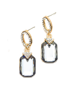 Emerald Cut Gray Crystal Rhinestone Drop Dangle Earrings Wedding Jewelry