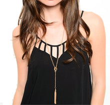 Load image into Gallery viewer, Long Gold Tone Trendy Fringe Toggle Closure Necklace