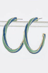 Mint Green Turquoise Blue Twisted Hoop Earrings