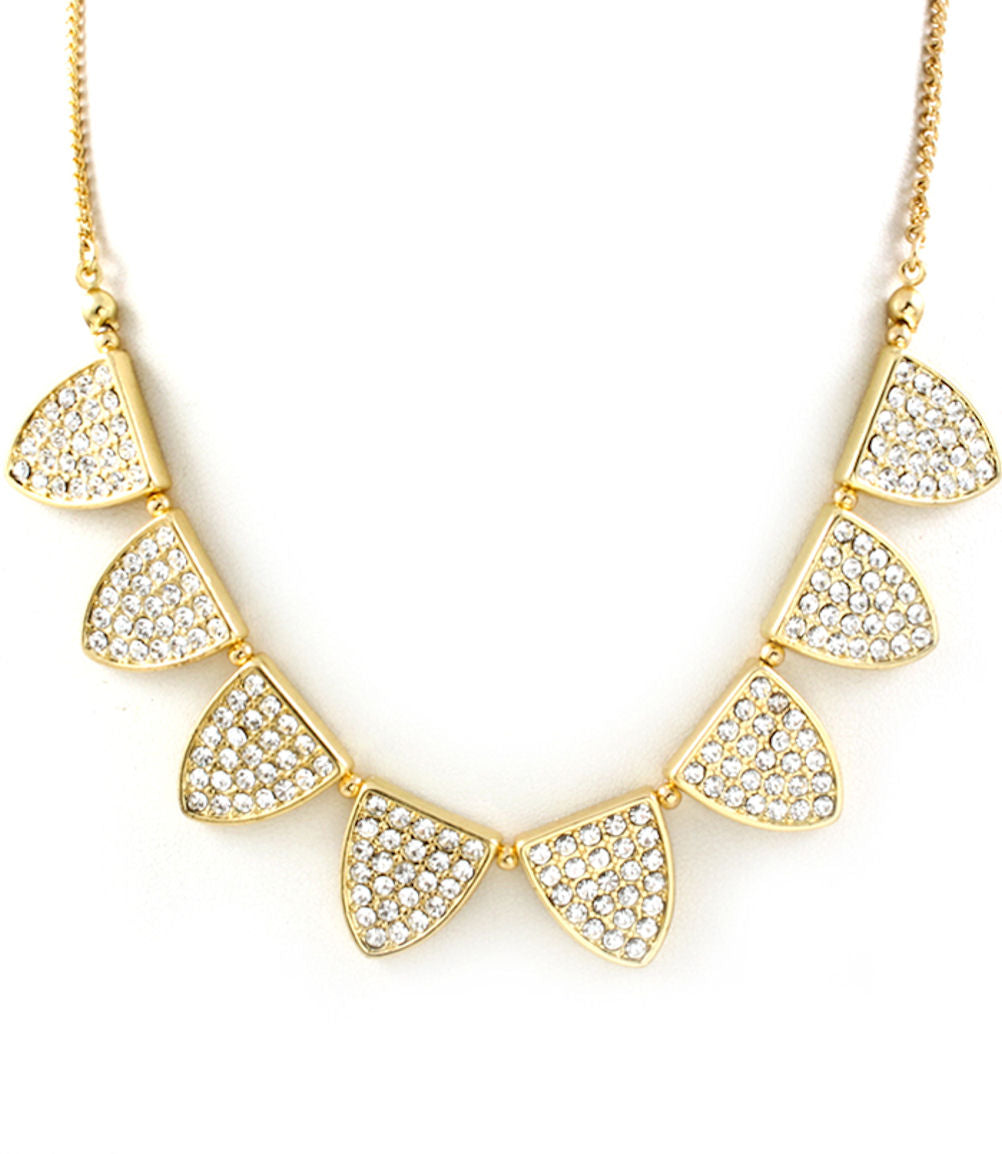 Rhinestone Studded Triangular Geometric Collar Necklace Gold