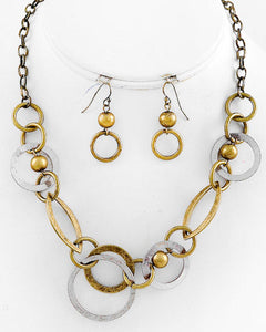 Burnished Two Tone Metal Circles Beads Necklace Set