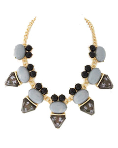 Gold Tone Black & Gray Acrylic Necklace & Earring Set.