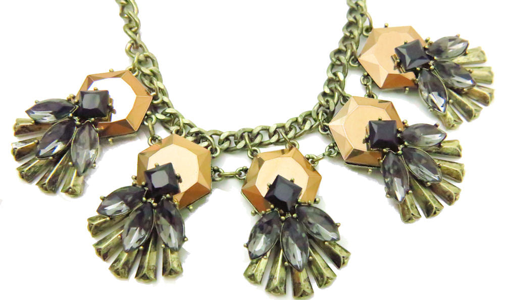Copper Black Gray Geometric Fashion Statement Necklace Earring Set
