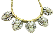 Load image into Gallery viewer, Ivory Clear Acrylic Faux Pearl Fashion Statement Necklace Earring Set