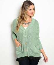 Load image into Gallery viewer, Pistachio Green Cardigan Black Net Detail