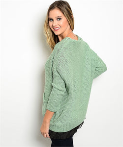 Pistachio Green Cardigan Black Net Detail