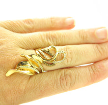 Load image into Gallery viewer, Chocolate Brown Gold Rhinestone Wide Fashion Leaf Ring Sz 8