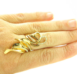 Chocolate Brown Gold Rhinestone Wide Fashion Leaf Ring Sz 8