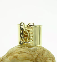 Load image into Gallery viewer, 14K Gold Wide Corset Ring with 14K Gold Wire Lace Up & Bow