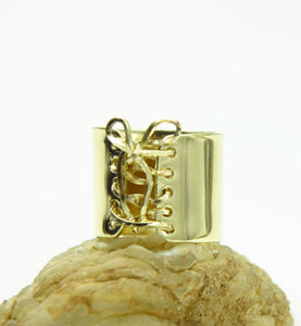 14K Gold Wide Corset Ring with 14K Gold Wire Lace Up & Bow
