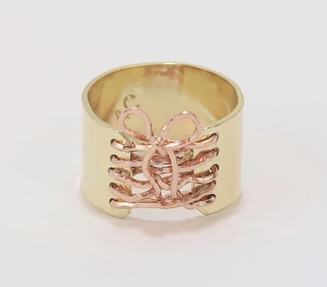 14K Gold Filled Corset Ring Rose Gold Wire Bow Wide Band Ring