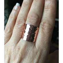 Load image into Gallery viewer, Copper Cuff Ring, Cigar Band Ring, Boho Jewelry, Rustic, Wide Band Ring, Textured Tube Ring, Sealed