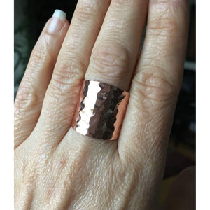 Copper Cuff Ring, Cigar Band Ring, Boho Jewelry, Rustic, Wide Band Ring, Textured Tube Ring, Sealed