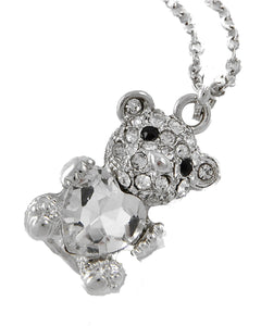 Silver Tone Crystal Bear w/ Lg Glass Heart Pendant Necklace