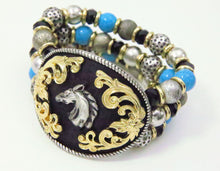 Load image into Gallery viewer, Western Horse Stretch Bracelet Turquoise Silver Tone Black Beads