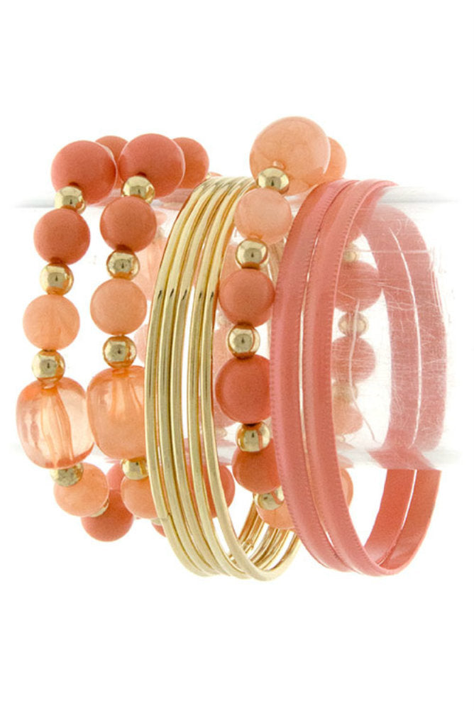 Peach Bangle Stretch Beaded 10 piece Bracelet Set