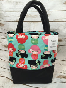Handmade Japanese Doll Fabric Faux Black Leather Mini Tote Bag