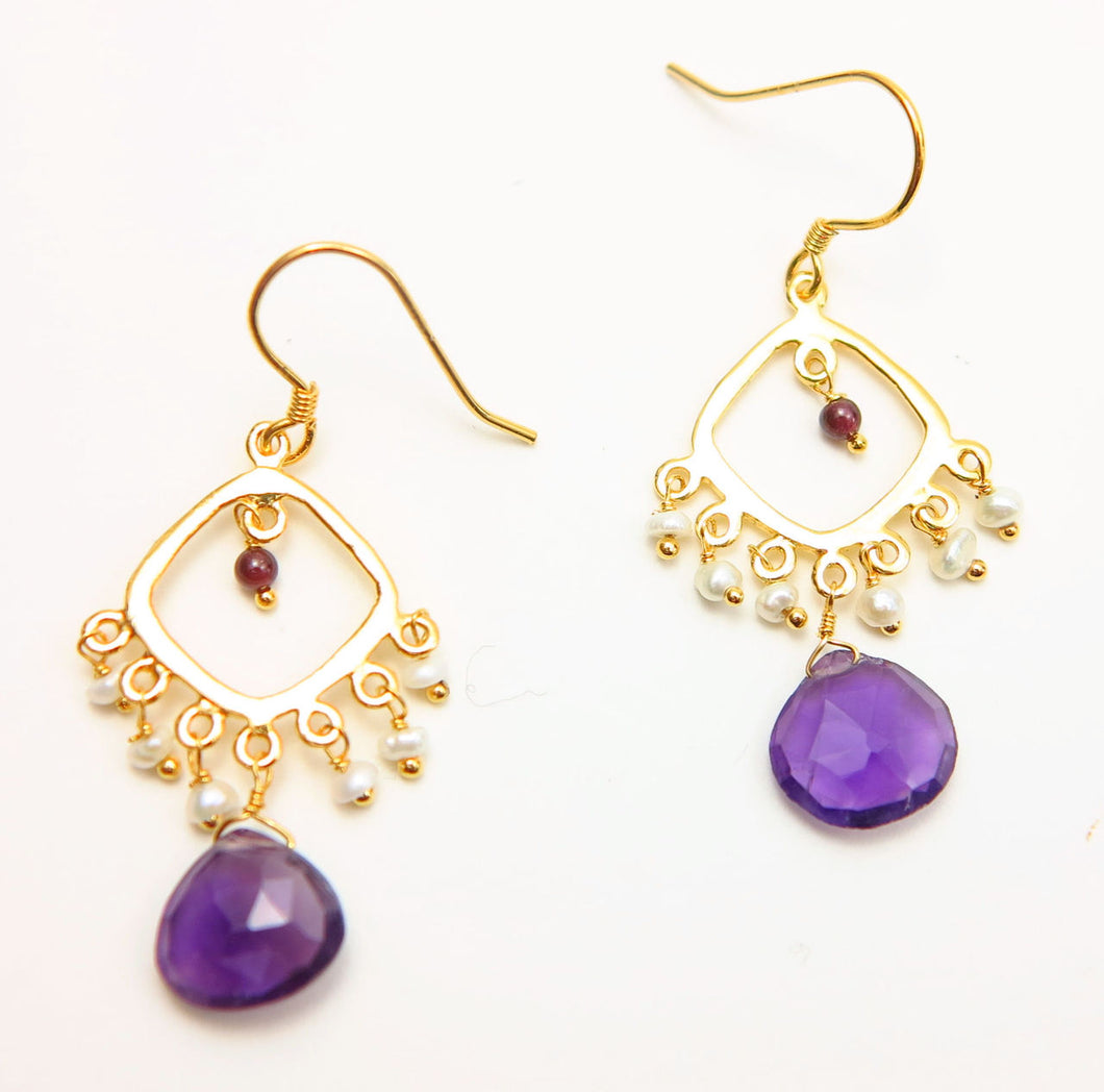 Gold Tone Amethyst Garnet Freshwater Pearl Drop Dangle Earrings