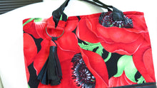Load image into Gallery viewer, Red Poppy Black Leather Handbag Tote Bag Tassel Detail