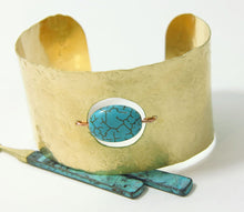 Load image into Gallery viewer, Handmade Brass Copper Turquoise Bead Hammered Cuff Bracelet