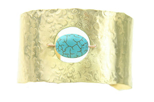 Handmade Brass Copper Turquoise Bead Hammered Cuff Bracelet