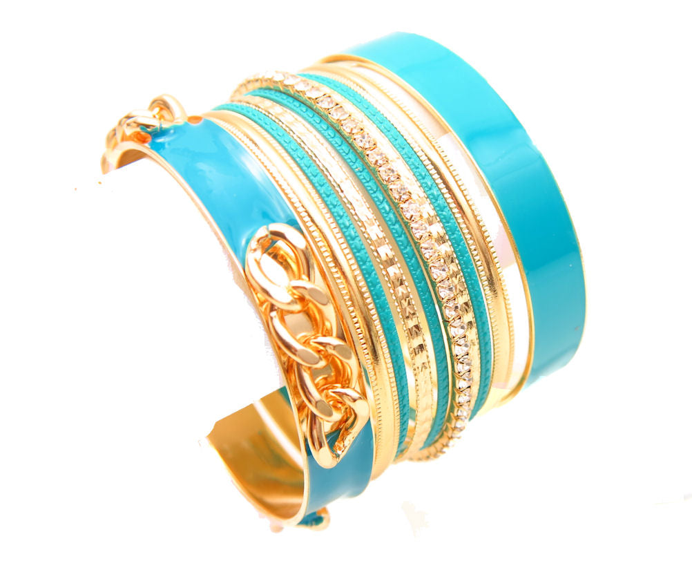 Turquoise Enamel Gold Tone Rhinestone Bangle Bracelet Set